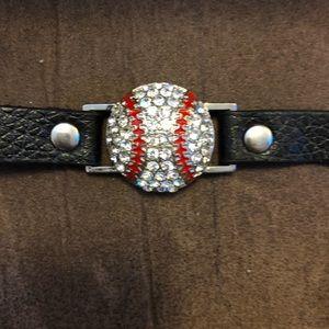 Cute CZ bling baseball leather bracelet